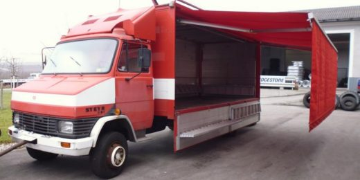 Steyr 591 Kofferaufbau bei HEBA-Reifen in Mistelbach bei Wels