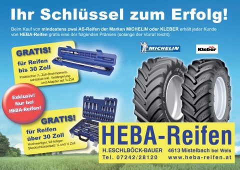MICHELIN und KLEBER-Reifen Exkklusivaktion bei HEBA-Reifen in Mistelbach bei Wels