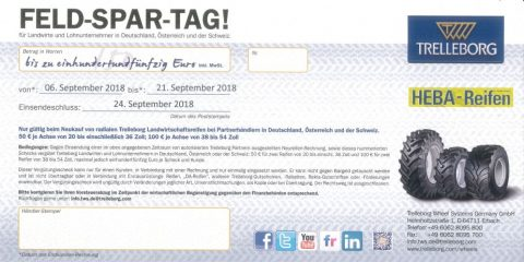 Trelleborg FELD-SPAR-TAGE 2018 bei HEBA-Reifen in Mistelbach bei Wels