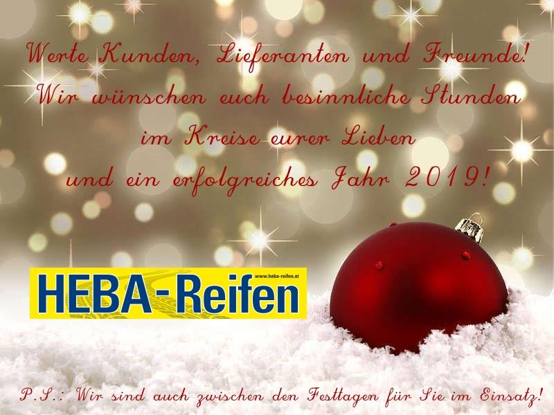 Frohe Weihnachten wünscht ihnen das Team von HEBA-Reifen in Mistelbach bei Wels