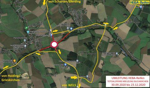 Umleitung zu HEBA-Reifen in Mistelbach bei Wels